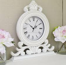 white mantel clock french style shabby chic amazon co uk kitchen