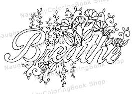 printable inspirational quotes to color breathe printable gift coloring page yoga gifts positive