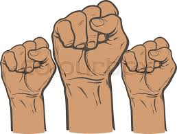 raised fist strong fist on a white background mans hand male