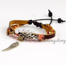 leather bracelet with charms images Wings feather charm pendants wholesale girls charm bracelet charm jpg