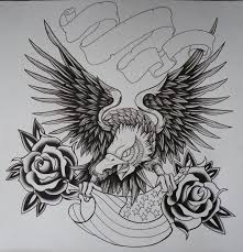 black ink flying eagle with usa flag and roses tattoo design