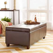 Leather Coffee Table Storage Leather Coffee Table Storage Brown Faux Ottoman Intended For