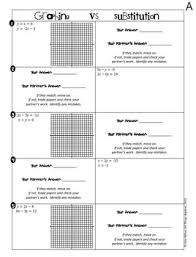 of equations graphing vs substitution partner activity