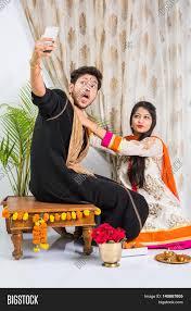 Indian Flag Hoisting Knot Indian Brother Taking Selfie With Sister On Raksha Bandhan