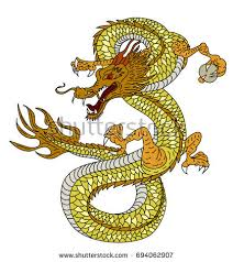 colorful japanese dragon tattoo designcartoon line stock vector
