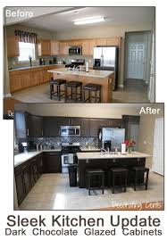 Diy Black Kitchen Cabinets Remodelaholic Sleek Chocolate Painted Cabinets