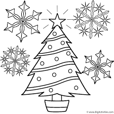 tree with snowflakes coloring page