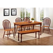 Bench And Chair Dining Sets Chestnut U0026 Cinnamon Farmhouse 6 Piece Dinette Table 4 Chairs
