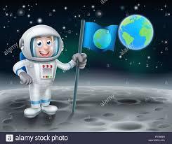 Moon Flag From Earth An Illustration Of A Cartoon Astronaut Holding A Flag On Earths