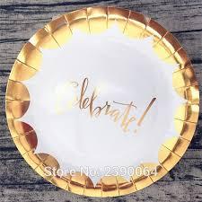 celebrate plate scallop gold foil celebrate paper plates 40pcs metallic gold edge