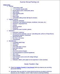 sample beach checklist printable travel packing list template