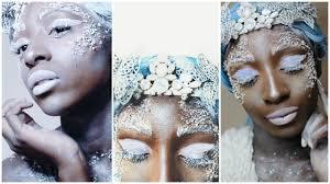 halloween makeup for black skin ice queen snow queen make up tutorial dark skin youtube