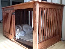 extra large side entry oak dog crate furniture by huntridgeranch