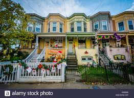 row houses on 34th street in hampden baltimore maryland stock