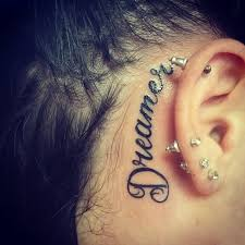 20 behind the ear word tattoos