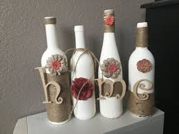 Wine Bottle Home Decor Decoration Handmade By ChiclyShabbyDesigns - Handmade home decoration