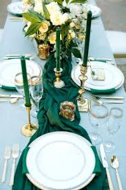candle runners table runners and napkins a wedding table setting with emerald