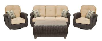 Patio Set 6 Chairs by Breckenridge Tan 6 Pc Patio Furniture Set Swivel Rockers Sofa
