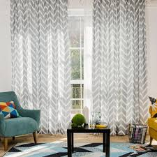 Long Living Room Curtains Blue And White Wave Polyester Print Striped Modern Chevron
