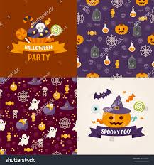 halloween background vertical seamless patterns halloween symbols greeting cards stock vector