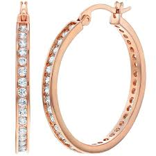large gold hoop earrings gold plated clear cz large hoop earrings for women 1 18