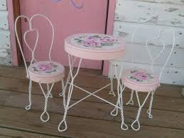 ice cream parlor table and chairs set shabby hp roses hand painted vintage ice cream parlor table and char