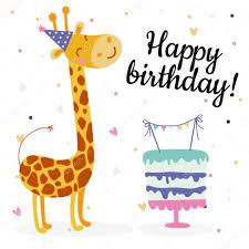 cute birthday greeting cards design with giraffe u2014 stock vector