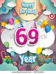 69th birthday card 69th birthday celebration greeting card design stock vector