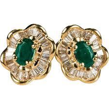 stud diamond earrings ballerina emerald diamond earrings 3ctw 14k gold stud diamond