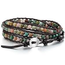 bracelet bead leather images Mowom alloy genuine leather bracelet bangle cuff rope bead 3 wrap jpg