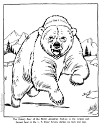 grizzly bear coloring pages zoo animals