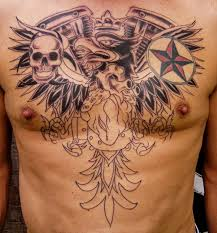 nautical red stars tattoo on chest and tattoo designs star