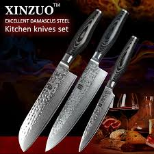damascus kitchen knives for sale xinzuo 3 pcs kitchen knives set 73 layer damascus kitchen knife