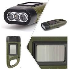 hand crank led light solar powered hand crank survival military waterproof led flashlight