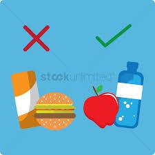 food vector choosing healthy food over junk food vector image 1242575