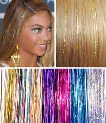 40 hair tinsel silk bling extensions glitter sparkly highlights