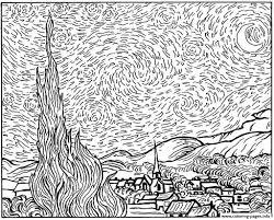 van gogh starry night coloring pages printable