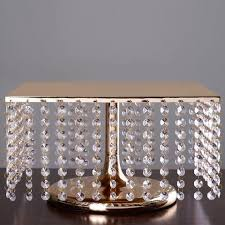 14 cake stand 14 bejeweled gold square pendants metal chandelier