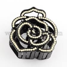 claw hair wholesale flower plastic claw hair with rhinestones