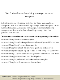 Fashion Merchandising Resume Sample by Top 8 Visual Merchandising Manager Resume Samples 1 638 Jpg Cb U003d1432193947