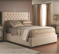 Cream Tufted Bed Bedroom Cream Fabric Headboard With Tufted Design On The Low Bed