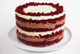 red velvet cake with chocolate and vanilla liquid cheesecake