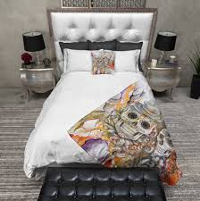 abstract pencil sketch flower and sugar skull bedding ink and rags