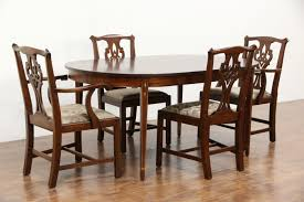 Henkel Harris Dining Room Furniture Traditional Mahogany Dining Set Table 3 Leaves 8 Chairs Signed