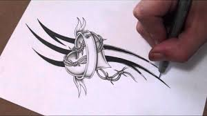 shading a heart and banner with barbed wire tattoo design youtube