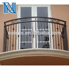 simple style wrought iron balcony with pot belly design flat top