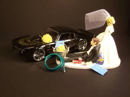 car wedding cake toppers auto car wash 1972 pontiac firebird black and groom