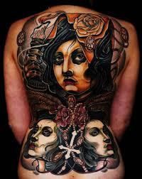 grey ink cthulhu tattoo on full back