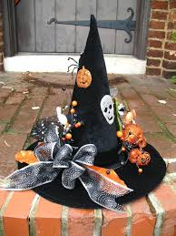 orange and black happy halloween witches hat table decoration by