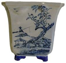 chinese hand painted oriental scenery ceramic planter asian